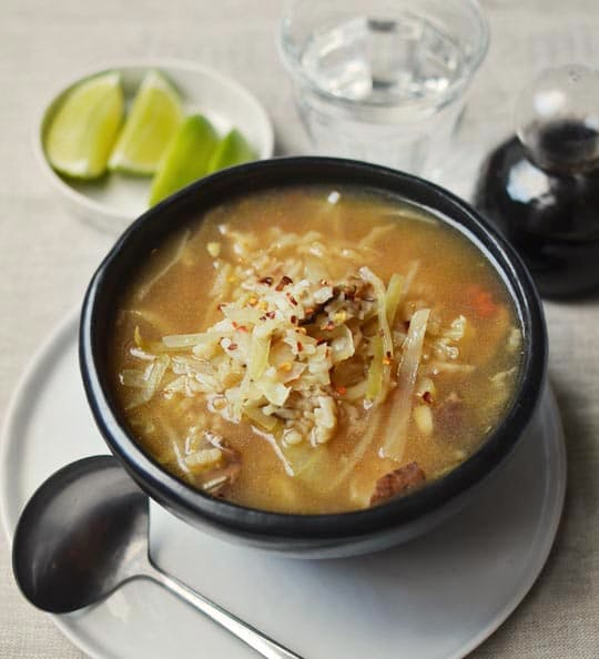 Hot & Sour Soup with Mushrooms, Cabbage, and Rice – The Middle Way ...
