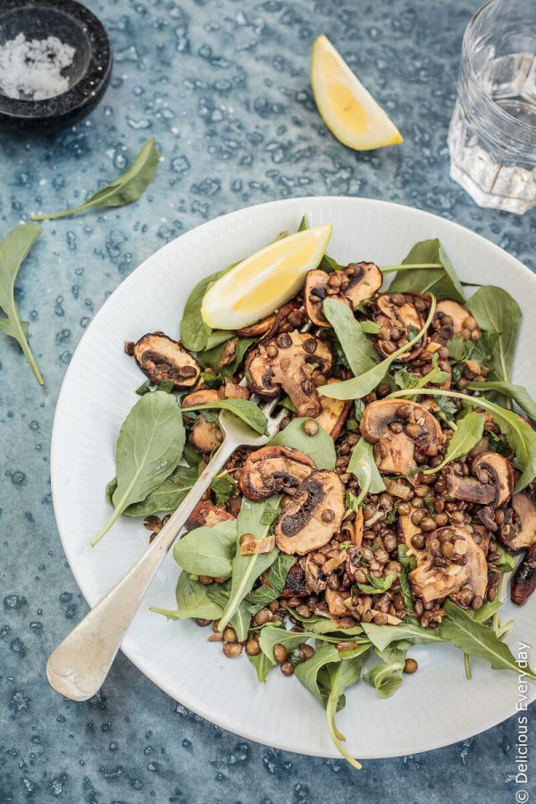 mushroom-lemon-lentil-salad